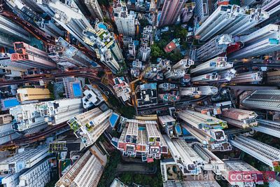 Aerial view of skyscrapers, Hong Kong, China