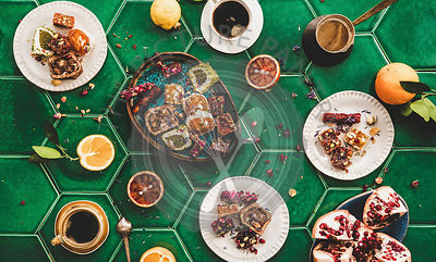 Flat-lay of Turkish traditional lokum sweet delight with Turkish coffee