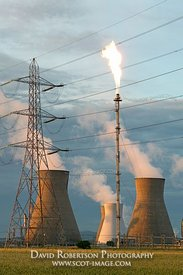Image - Cooling Towers, Pylon and Gas Flare, Grangemouth, Scotland
