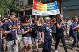#125013,  Sobell House group and banner, Pride march, Oxford, Saturday 1st June, 2019.