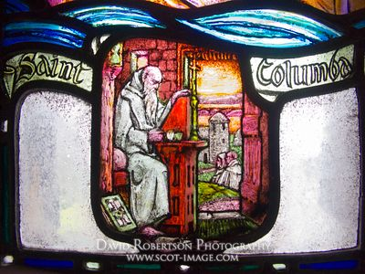 Image - St Columba Stained Glass window, in St Margaret's Chapel, Edinburgh Castle