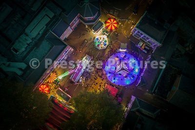 Aerial view of Banbury Fair Rides at sunset