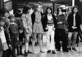 #74728,  Anna Scher Children's Theatre, Bentham Court Hall, Islington, North London 1972.  Kids would come after school and b...
