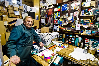 Gary Arber, printer and stationer in his very old Roman Road shop.