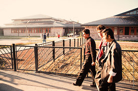 #4640,  Students arriving at The Lord Byron School, Leninakan (now Gyumri), Armenia.  At 11.41am on the 7th December 1988, Ar...