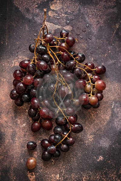 Bunch of grapes over dark background