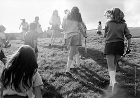 #83725,  Going out for hockey on the school field, Whitworth Comprehensive School, Whitworth, Lancashire.  1970.  Shot for th...