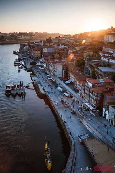 Sunset over Ribeira district, Porto, Portugal