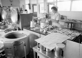 #83744,  The kitchen, Whitworth Comprehensive School, Whitworth, Lancashire.  1970.  Shot for the book, 'Family and School, P...