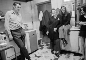 #75045  In the kitchen, George Shields on the left, Liverpool Free School, Liverpool  1971.  Also known as the Scotland Road ...