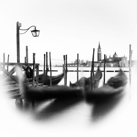 Art view of gondolas in Venice