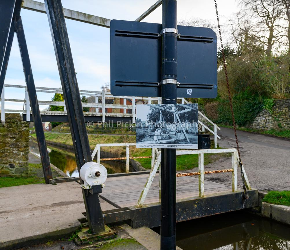 Lift bridge in Froncysllte with old picture of same location.