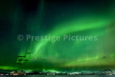 Aurora Borealis at Sea near to Stamsund in Nordland Municipality