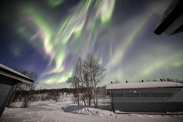 Strong aurora from the Aurora Holidays cottage in Utsjoki, Finnish Lapland