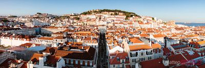 Panoramic view of old town with castle, Lisbon, Portugal