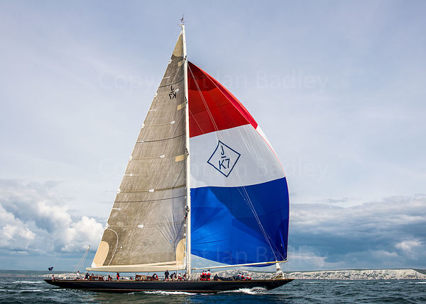 J Class Class yacht Velsheda sails with spinnaker off the Isle of Wight