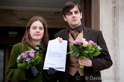 091124_Civil Partnership_086 Tom Freeman and Katherine Doyle, a heterosexual London couple applying for a civil partnership a...