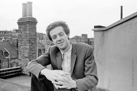 #74841,  Cornelius Cardew (1936-1981), avant-garde musician and composer, on the rooftops, Fitzrovia, London.  3rd July 1970.