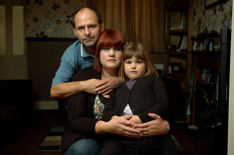 Dave and Nicola Williams with Ellie May Williams (5). Parents and sister of Sofia Jasmine Williams who died a year ago at nin...