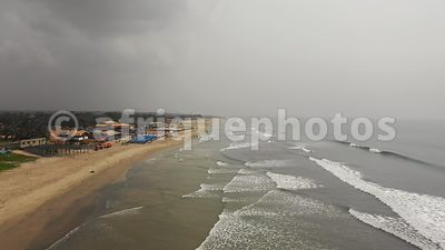 Labadi beach, Accra from above, drone video