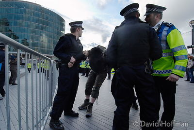Anarchist protesters arrested outside City Hall as result of London Mayoral election is awaited. 2 May 2008.