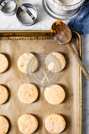 Sweet potato biscuits on a bright background