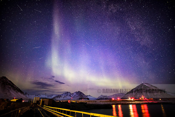 Aurora borealis (northern lights) in the research town of Ny-Alesund in Spitsbergen, SValbard, Norway