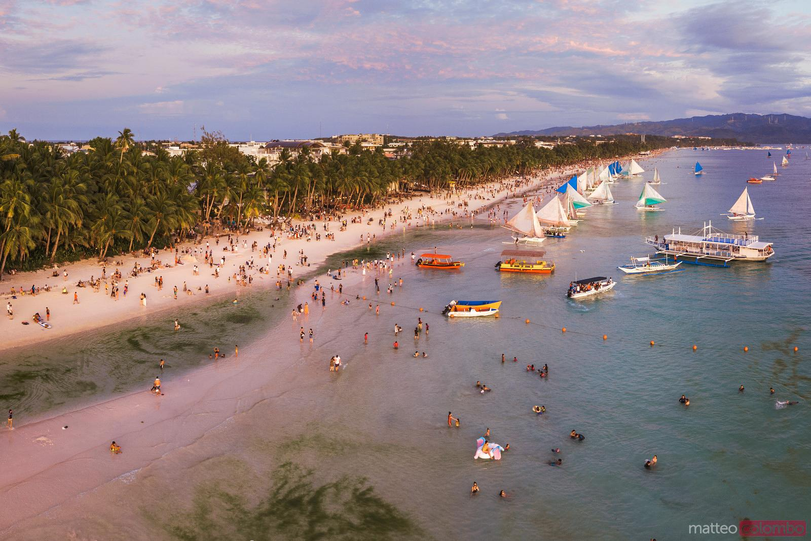 Awesome sunset over White beach, Boracay
