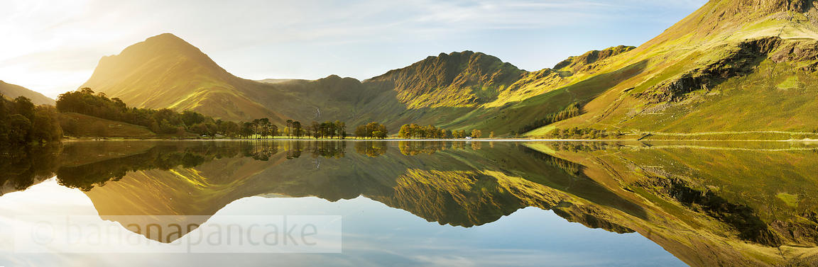 Panoramic view of Buttermere at sunrise, Lake District