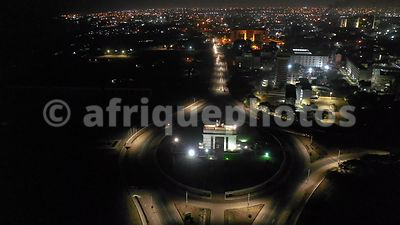 Black Star arch by night, Accra from above, drone video