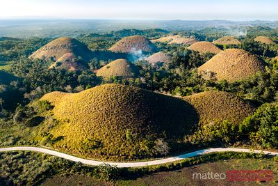 Aerial view of road through the chocolate hills, Philippines