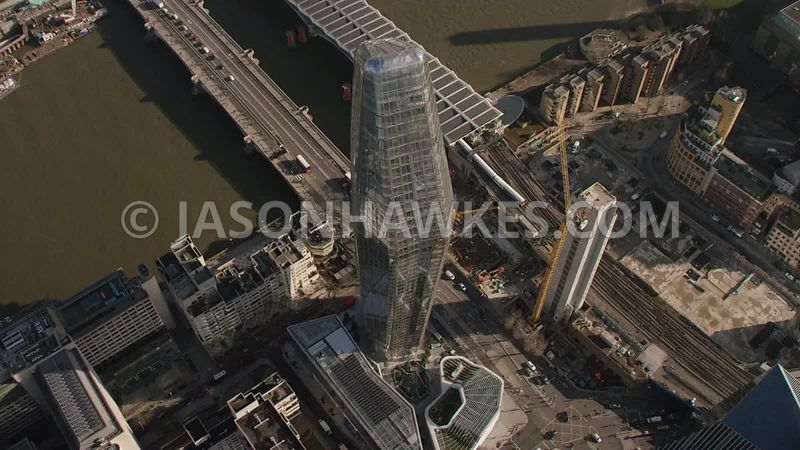 Aerial footage of One Blackfriars, Blackfriars Bridge, London.