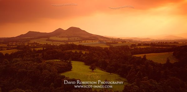 Image - Eildon Hills from Scott's View, Panoramic, sunset, Scotland