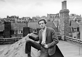 #74829,  Cornelius Cardew (1936-1981), avant-garde musician and composer, on the rooftops, Fitzrovia, London.  3rd July 1970....