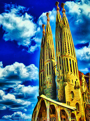 art,painting,airbrush,abstract,sagrada familia,cathedral,church,barcelona,gaudi,artist,
