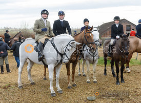 Jasper Tordoff, Alex Tordoff, Jo Rutter and Hermione Brooksbank at the meet. The Cottesmore Hunt at Town Park Farm 7/1