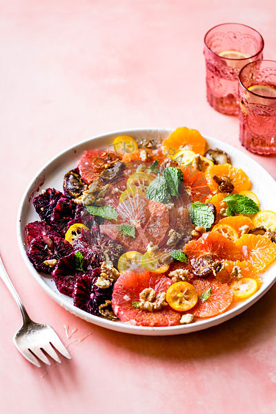 Winter citrus salad with mint, dates and walnuts.