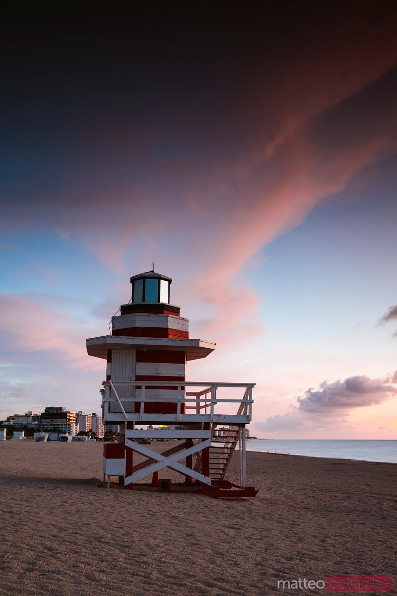 Lifeguard cabin at sunrise, South beach, Miami