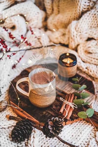 Turkish traditional wintertime hot drink Salep over knitted blanket