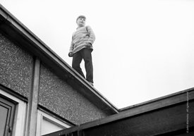 #83783,  On the school roof, Whitworth Comprehensive School, Whitworth, Lancashire.  1970.  Shot for the book, 'Family and Sc...