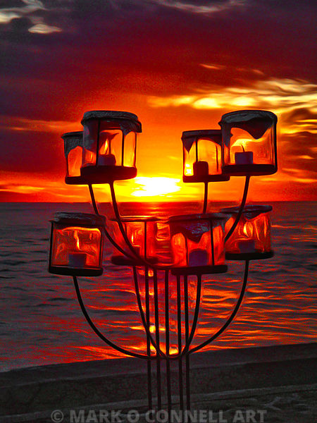 art,bali,indonesia,lanterns,candles,water,beach,sunset,painting,abstract,airbrush,