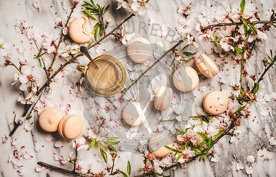 Flat-lay of espresso coffee, macaron cookies and flowers
