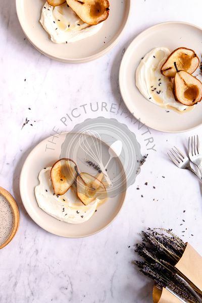 Roasted pears on yogurt with lavender