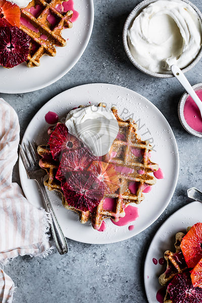 Fluffy and crispy chamomile waffles made gluten-free with oat, sweet rice, and tapioca flours. Drizzled with hot pink blood o...