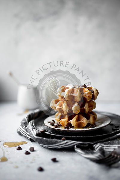 Breakfast Sugar Waffles With Chocolate Chips and Honey Drizzle