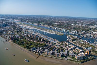 Aerial view of City Airport, North Woolwich, Royal Victoria Gardens, Royal Docks, London.