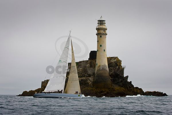 Leading Irish-entry Whisper from Dun Laoghaire reaches the The Fastnet Rock off West Cork, Ireland in the 300-boat race that ...