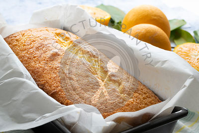 Orange cake in a loaf tin.