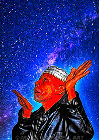 art,bali,rain man,painting,airbrush,priest,stars,sky.night,prayer,culture