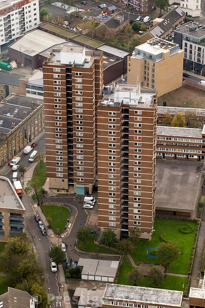High Angle View of Residential High Rise Towers  in London